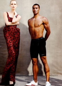 Karlie Kloss And Various Male Athletes By Annie Leibovitz For Us Vogue June 2012 (4)