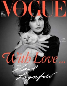 Linda Evangelista And Choupette By Karl Lagerfeld For Vogue Germany July 2013 (1)